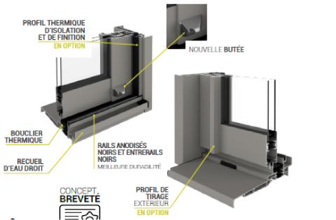 Détails techniques de la gamme de baies vitrées STARALU OPTIMA