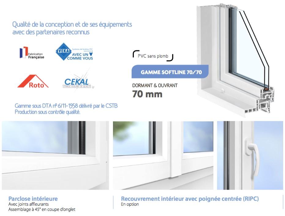Porte fen tre pvc 2 vantaux sur mesure gamme softline for Parclose fenetre