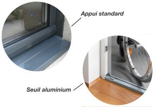 Appui standard et seuil aluminium sur une porte-fenêtre