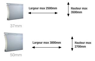 Limites en largeur et hauteur des lames de 37 et 50mm sur les volets rénovation