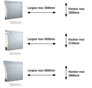 Limites en largeur et hauteur des lames de 50mm, 55mm et 56mm sur les volets roulants traditionnels