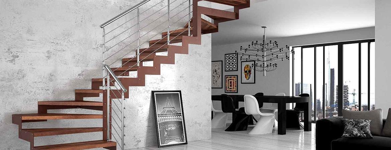 Escalier Double Quart Tournant En Acier En Bois Ou En Pierre