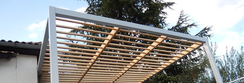 Pergola en bois, structure moderne pour le jardin