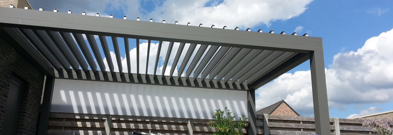 Pergola pour allée de jardin, structure en aluminium gris anthracite