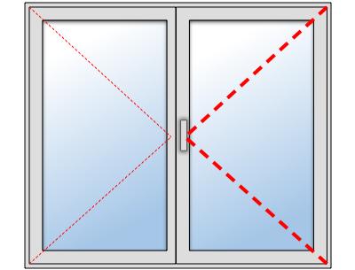 Fenêtre PVC 2 ouvrants sur mesure, Vantail principal à droite