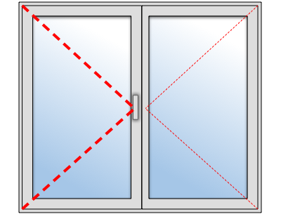 Fenêtre PVC 2 ouvrants sur mesure, Vantail principal à gauche