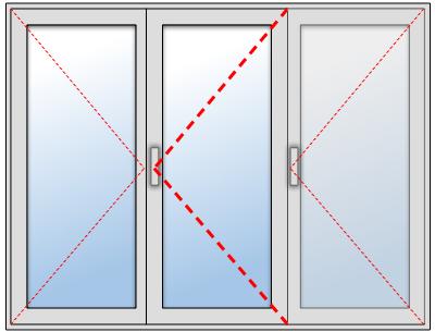 Porte-fenêtre 2 vantaux + un fixe en aluminium sur mesure, Troisième vantail à droite et vantail principal au centre