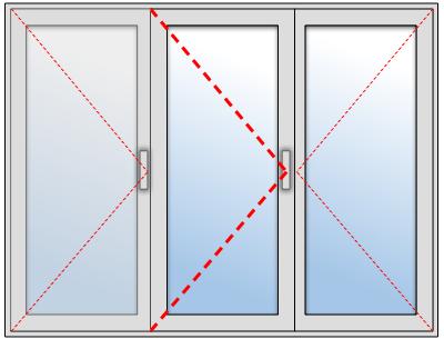 Porte-fenêtre 2 vantaux + un fixe en aluminium sur mesure, Troisième vantail à gauche et vantail principal au centre