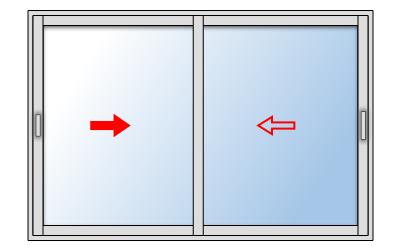 Fenêtre coulissante aluminium 2 vantaux, Vantail principal à gauche