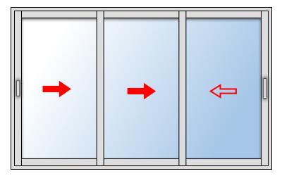 Fenêtre coulissante aluminium 3 vantaux, Vantail principal à gauche