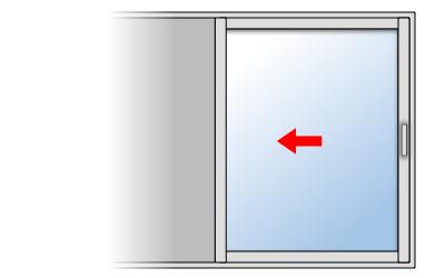 Fenêtre coulissante aluminium 1 vantail 1 rail, Vantail principal à droite