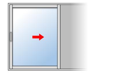Fenêtre coulissante aluminium 1 vantail 1 rail, Vantail principal à gauche