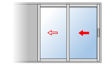 Fenêtre coulissante aluminium 2 vantaux 2 rails, Vantail principal à droite