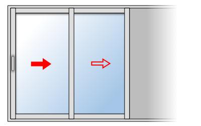 Fenêtre coulissante aluminium 2 vantaux 2 rails, Vantail principal à gauche