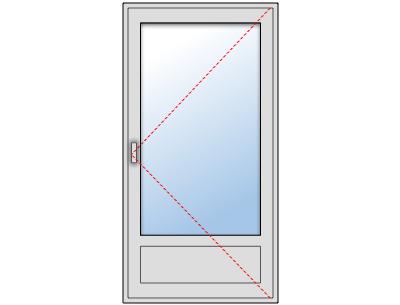 Porte-fenêtre 1 vantail aluminium fixe sur mesure, Ouverture droite tirant