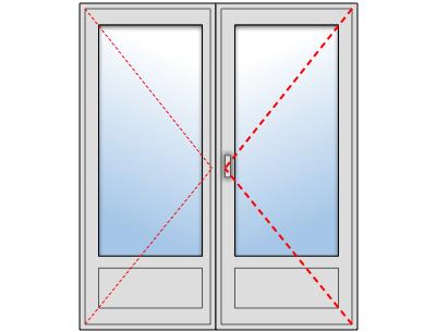 Porte-fenêtre PVC 2 vantaux sur mesure, Vantail principal à droite