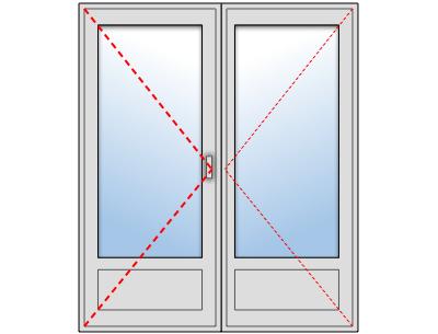 Porte-fenêtre PVC 2 vantaux sur mesure, Vantail principal à gauche