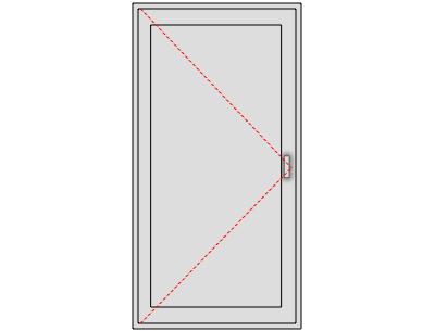 Porte de service pleine en aluminium sur mesure, Ouverture gauche tirant