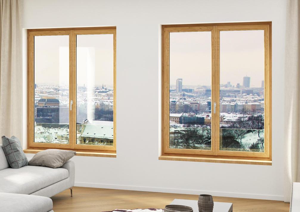 Fenêtre sur mesure en bois dans un salon design