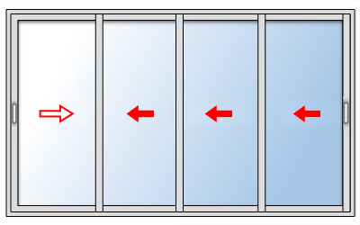 Baie coulissante 4 vantaux sur mesure