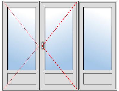 Porte-fenêtre 2 vantaux + 1 fixe